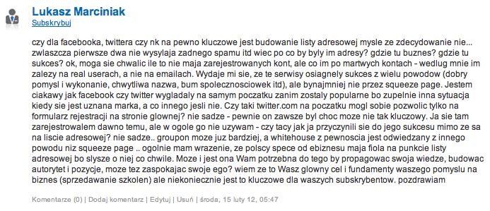 Lukasz Marciniak o budowaniu listy