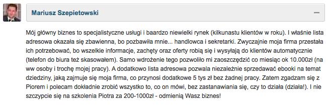 Opinia Mariusz Szepietowski