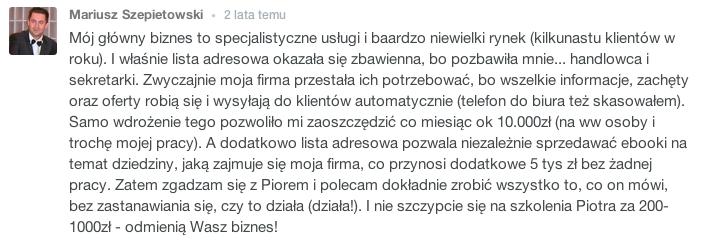 Mariusz Szepietowski budowanie listy