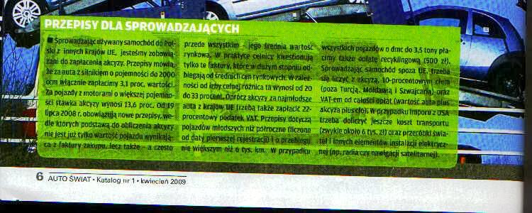 AutoŚwiat, katalog kwiecień 2009, Przepisy dla sprowadzającego, bład w stawce akcyzy