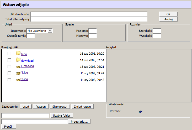 Menadżer plików - Kliknij aby powiększyć