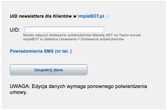SMS do organizatora ustawienia